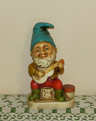Vtg Homco Gnome Playing Guitar Figurine Excellent!