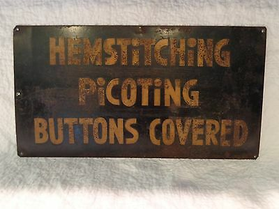 Antique 19th.c/Early 20th.c Tin Sewing Trade Sign, Advertising