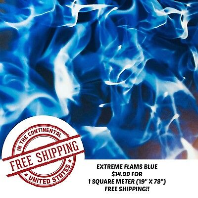 Hydrographic Water Transfer Hydrodipping Film Hydro Dip Extreme Flame Blue 1Sq