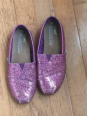 TOMS pink purple sparkle classic slip on flats girl shoes size 2
