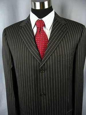 MINT Super 120's ZANETTI Working Sleeves Black Striped 3 Button Suit 42L  #D252