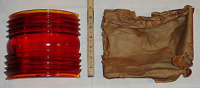 NOS 112º Red Marine Ship Port Running Light Lantern Fresnel Lens 40s-50s 31-L-18