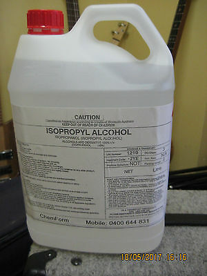 ISOPROPYL ALCOHOL , ISOPROPANOL,IPA  100%     5 litres    **** Pick up   ONLY