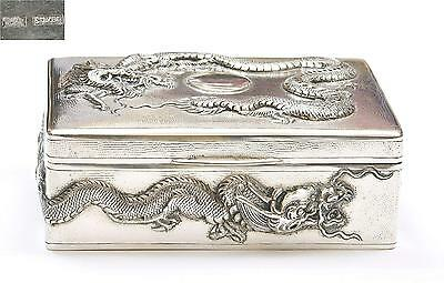 Early 20th Century Chinese Silver Repousse Dragon Box Marked 304 Gram