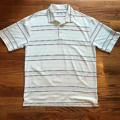 Nike Golf FitDry Men's Large L White Striped Stretch Short Sleeve Polo Shirt