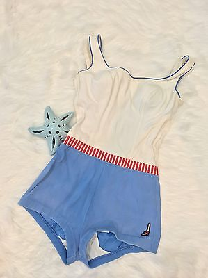 Vintage 1950s Jantzen Swimsuit One Piece sz14 white blue red nautical sailor sty