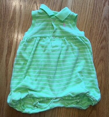Baby GIRL RALPH LAUREN Light Green One Piece Shorts Outfit Size 6 Months Cute!