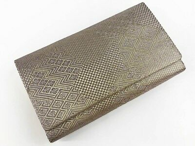 Vintage Japanese Silver Metalic Brocade Clutch Bag For Use When Wearing Kimono R