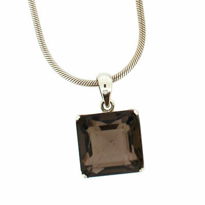 Square Brown Smoky Topaz Sterling Silver .925 Gemstone Faceted Pendant