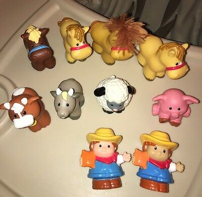 Mixed lot 10 Fisher Price Little People Barn Farm Animals Farmer Horse Sheep Cow
