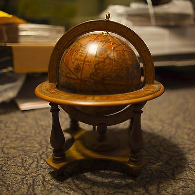 Vintage Old Antique Wooden World Globe Desk Top Globe Zodiac Made In Italy
