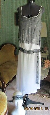 White Black Silver 20s Flapper 3pc Gatsby Deco Restyled Dress Downton Costume  8