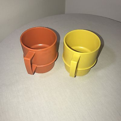 Vintage Tupperware 1312 - 2 Stacking Coffee Mugs , Orange, Yellow Lot Of 2