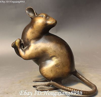 Chinese Fengshui Bronze Zodiac Year Mouse Mouses Hamster Rat Mice Aniamal Statue