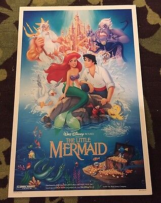 RARE Numbered Disney Little Mermaid 1989 Original One Sheet Poster BANNED MINT
