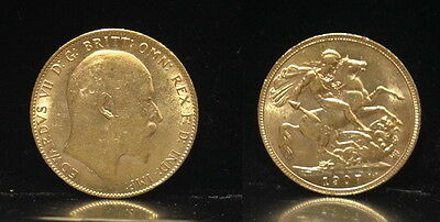 1907 ENGLISH  Mint gold Full Sovereign-KING EDWARD VII Attractive  lustrous coin