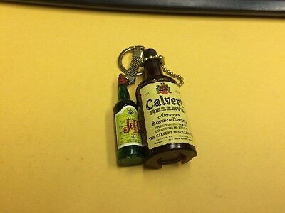 J&B  scotch & CALVERT  bottle miniature old key chain advertising