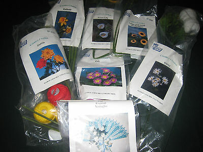 7 Brand NEW Complete Crochet Kits (Flowers and Fan)