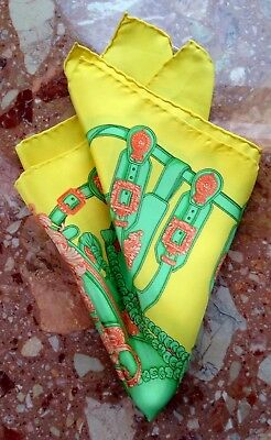 """Men's Stunning Gucci Yellow/Lime Vintage Silk Pocket Square Scarf 16.5 x 16.5 """""""