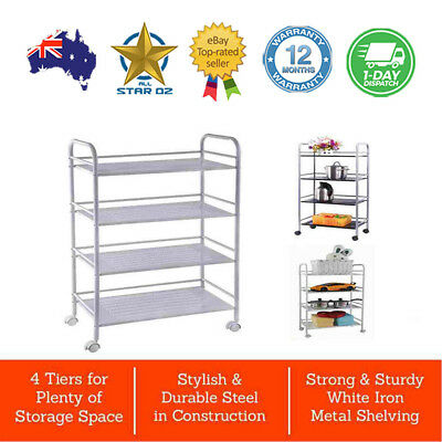 Kitchen Trolley Cart 4 Tier Trolley Service Steel Shelves Storage Wheels Castors