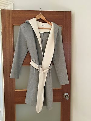seed winter coat size 10 grey and white with belt
