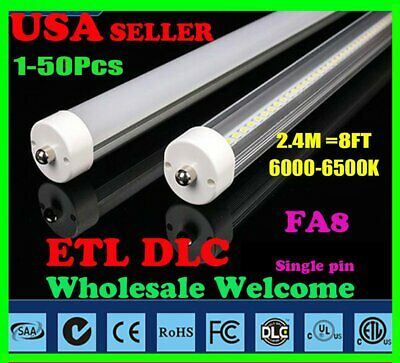 LOT 4-50 8FT 40W 6500K FA8 T12 T8 Fluorescent Replacement LED Tube Light Lamp MA