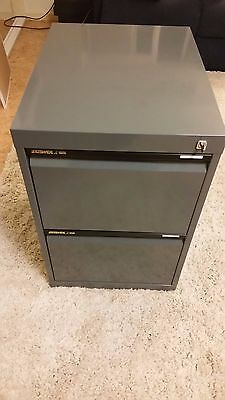 Filing Cabinet 2 Drawer Grey Lockable with Key