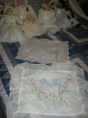 2 Vintage Baby Pillow/Cushion Covers-Embroidery