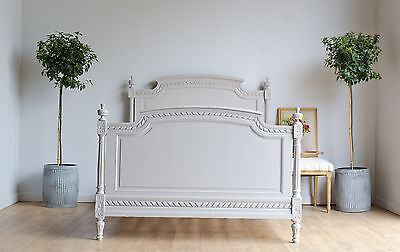 Antique French 19th Century Double Bed with Slats Painted in Farrow & Ball