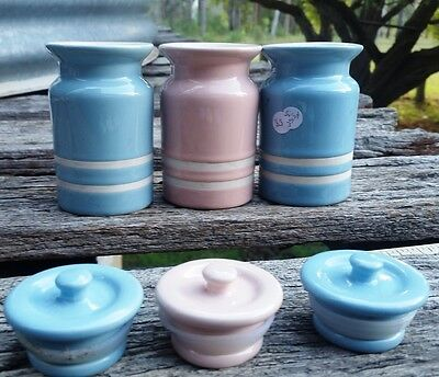 Ceramic Vintage sisters Small canisters SPice Jars Pastel Pink Blue Shabby Chic