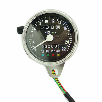 Universal Motorcycle Speedometer Speedo 61Mm Cable Dve With Display Lights Chrme
