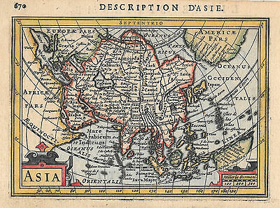 Original antique map of the continent of Asia from 1618 by Petrus Bertius