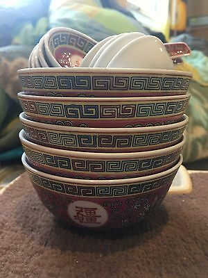 Antique chinese bowl, spoon and sauce set.  Set of 5 each.