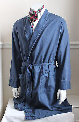 vintage M&S blue square design cotton dressing gown smoking jacket 60s mens L