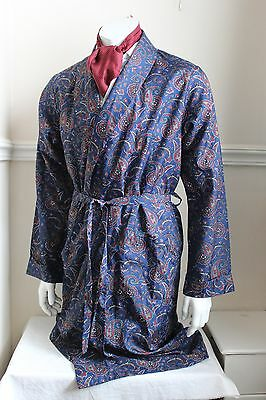 vintage C&A Canada navy paisley silky dressing gown smoking jacket 60s mens M