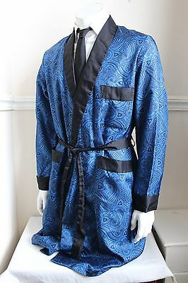 vintage Richmond blue/black retro silky dressing gown smoking jacket 60s mens M