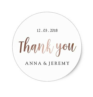24 x Personalised Thank You Stickers (45mm) - Wedding Stickers - love rose gold