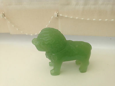 VINTAGE Chinese Green Jade Glass Foo Dogs - Immaculate condition