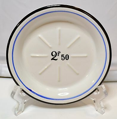 Black and Blue Absinthe Saucer w/ 2f50 French Dinnerware Bar ware from France