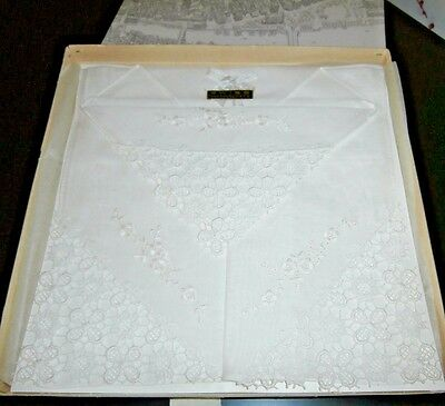 SWISS QUALITY VINTAGE WHITE COTTON with EMBROIDERY & LACE LADIES HANDKERCHIEFS