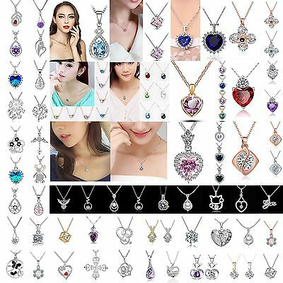 Women Jewelry 925 Sterling Silver Charm Necklace Pendant Clavicle Chain