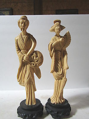 13 In Tall Old Japanese Man & Woman Figurines