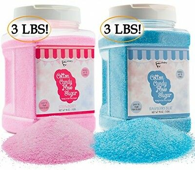 Cotton Candy Floss Sugar (2-Pack) | Raspberry Blue And Strawberry |