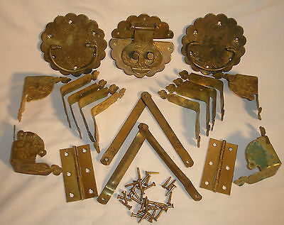 Complete Vintage Brass Hardware for Asian Wicker Chest / Trunk Great Patina WOW