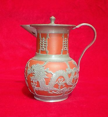 Antique Chinese Yixing Water Jug With Pewter Dragon Decoration - Shanghai