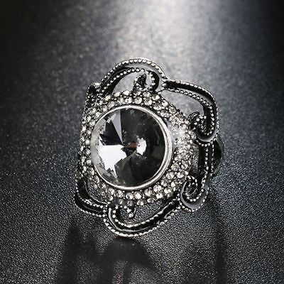 Hollow Big Flower Ring Gray Glass Crystal Black Enamel Ancient Silver Color