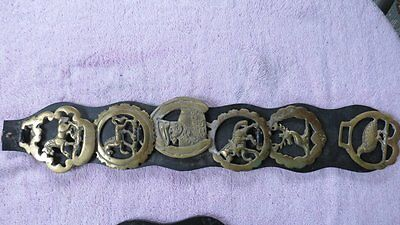 VINTAGE LOT of  6 BRASS  LEATHER HORSE STAG MORE MEDALLIONS EQUESTRIAN ORNAMEN
