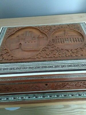 vintage  large carved inlaid wooden box