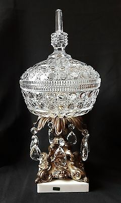 Stunning Hollywood Regency Italian Marble & Crystal Compote or Decorative Bowl
