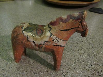 Antique Swedish Dala Horse Hand Painted Carved Folk Art Wood Carving Early 1900s